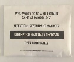 Mcdonalds Who Wants To Be A Millionaire Sealed Manager Kit. See Pics/description