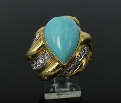 Vintage A Clunn 0.75ct Diamond Natural Turquoise Platinum And 18k Yellow Gold Ring