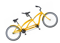 Tandem Bicycle 26 Yellow Outdoor Exercise adult cycling FUN Rear Coaster Brake