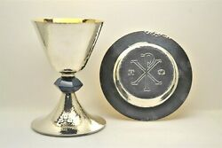 + Neo-gothic Chalice And Dish Paten Set By Beaugrand + 7 Ht. + Cu447