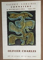 Olivier Charles Connaitre Hand Pulled Stone Litho Paris 1963