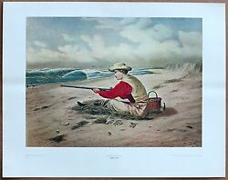 Currier And Ives Beach Snipe Shooting Original 1960 1st Print Ltd Ed Lithography