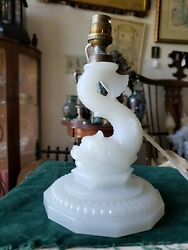 Vintage French Portieux Vallerysthal White Milk Glass Dolphin Lamp Base