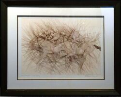 Guillaume Azoulay Last Furlong Hand Signed Horse Framed Make An Offer Etching
