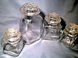Vintage Set Of 4 Clear Glass Candy Store Cookie Jars W/ Decorated Covers 9.5