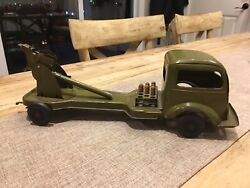 Antique Kingsbury Wind Up Army Artillery Cannon Truck Pressed Steel 1930's