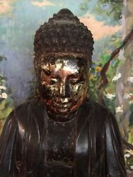 Exceptional Buddha 3 Foot High Circa 1900's Lacquer Wood With Gold Leaf