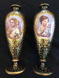 Pair Of Antique 19th C Bohemian Moser Enameled And Gilded Glass Portrait Vases
