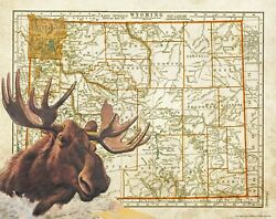 Moose Hunting Wyoming State Map Art Print Vintage Cabin Wall Decor Antlers Sheds