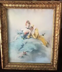 Authentic Antique Louis Morin Pastel Drawing French Masquerade Mask Couple =