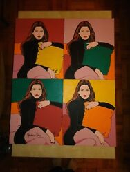 ORIIGINAL HUGE POP ART PAINTING  '' CINDY CRAWFORD '' BY ARTIST JAMES CHEN