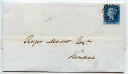 Rare 1840 2d Blue On Cover From Ambleside To Kendal With Black Distinctive Mc.
