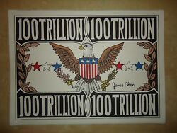 ORIIGINAL HUGE PAINTING  '' 100 TRILLION DOLLAR BILL '' BY ARTIST JAMES CHEN