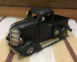 Black Ford Chevy Toy Pickup Truck Shop Coke Gas Oil Vintage Style Wall Decor