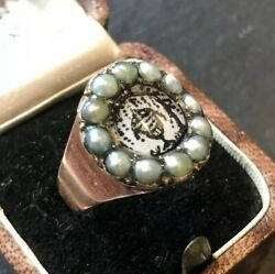 Antique Late Georgian Sepia And Pearl Gold Mourning Ring