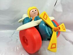 Vintage 1980s Fisher Price Plane 171 Plastic Helicopter Airplane Toy Spins Fs