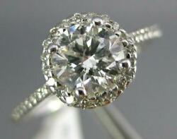 Estate .96ct Diamond 14kt White Gold 3d Round Halo Classic Engagement Ring