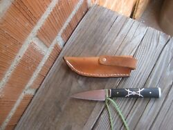 Antique 2 1/2 Blade Custom Carbon Paring Hunting Skinning Knife And Sheath Usa