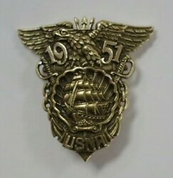 Vintage 1951 Us Naval Academy Military Insignia Pin 14k Solid Gold H.j.co Estate