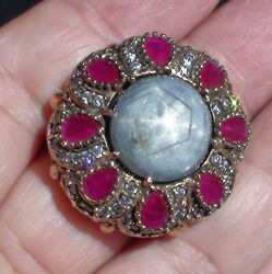 20.40ct Natural Unheated Gray Star Sapphire,ruby Ring 925 Silver.size 9.75.