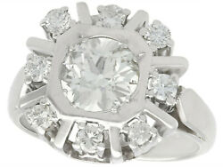Antique and Vintage 1.68ct Old Cut Diamond and 14ct White Gold Dress Ring