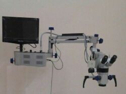 Wall Mount 3 Step Dental Microscope With Camera And Monitor