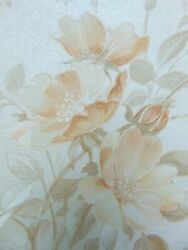 Lot Vintage Silk Wallpaper Roll 9 Floral Double Rolls 1950s Embossed Textured