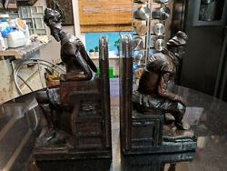 Incredible Antique Hand Carved Wood Book Ends
