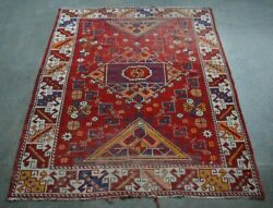Y969 Best Antique Kafkaz Decor Rug/ Medallion Moroccan Tribal Rug 4and0394 X 5and0394 Feet