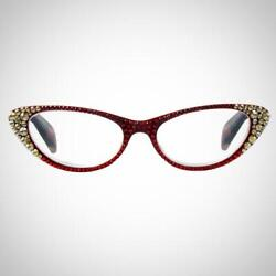 Jimmy Crystal Womenand039s Red Readers With Red And Gold Crystals