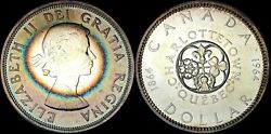 1964 Canada Silver Dollar Charlottetown Quebec Color Toned Proof In High Grade