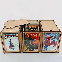 Comic Book Storage Boxes Three Boxes With Comic Book Display Frame