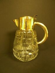 Vintage German Clear Cut Crystal And Silver Plate Pitcher D.r.g.m