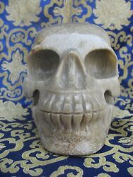 Antique Hand Carved Natural Petoskey Stone Chitipati Skull Head, Nepal