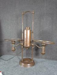 Antique Unsigned Double Student Lamp Base Electrified Serial 29706