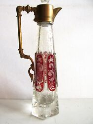 Rare Antique Moser Engraved Cabochon Cut Glass Decanter With Brass Handle