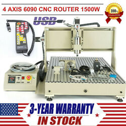 1.5kw 4 axis cnc6090 router engraver usb 3d carving milling machine + handwheel