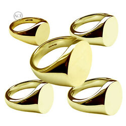18ct Solid Yellow Gold Signet Rings Oval 750 Uk Hallmarked Family Crest Rings