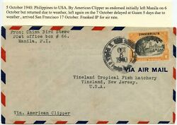 Philippines 1940 Us Foreign Mails Cancel China Bird Store American Clipper +guam