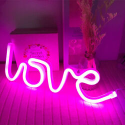 Pink Love Night Lights LED Neon Signs USB Battery Wall for Home Decor Bedroom
