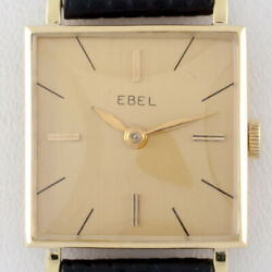 18k Yellow Gold Ebel Womenand039s Hand-winding Watch W/ Leather Band