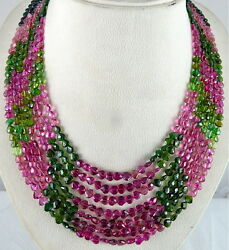 NATURAL MULTI TOURMALINE BEADS 442 CARATS FACETED HEART SHAPE GEMSTONE NECKLACE