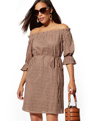 NY amp; Co. EYELET OFF THE SHOULDER SHIFT DRESS Coco Beach Large Style #07720197 $49.99