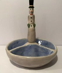 Dept 56 Snowman With Top Hat Bow Tie 9andrdquo X 8andrdquo Divided Serving Dish Hand Painted