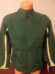* Russell Athletic Womens M Athletic Light Warm Up Sideline Jacket Green Yellow