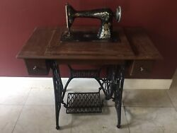 Antique Singer Sewing Machine With Table, Cast Iron W/ Hand Carved Desk/drawers