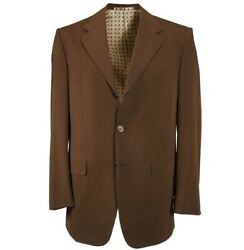 Nwt 7800 Bijan Caramel Brown Wool Suit With Mother-of-pearl Buttons 40 R