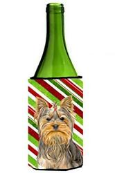 Candy Cane Holiday Christmas Yorkie  Yorkshire Terrier Wine Bottle Beverage...