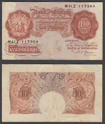 Great Britain 10 Shillings Nd 1949-55 Vf Condition Banknote Km 368b W41z