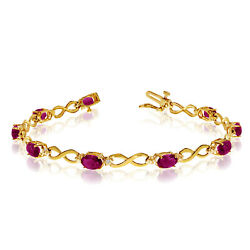 10K Yellow Gold Oval Ruby Stones And Diamonds Infinity Tennis Bracelet 7